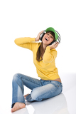 Fotografie Happy female teenager enjoy music with headphones
