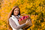 Autumn country - woman with wicker basket