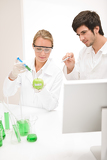 Fotografie Genetic engineering - scientists in laboratory