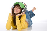 Fotografia Happy female teenager enjoy music