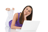Student - teenager woman with laptop lying down