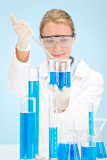 Fotografie Chemistry experiment -  scientist in laboratory