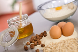 Baking dough ingredients, honey, eggs, flour
