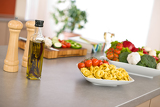Italian food - pasta, tomato, ingredients for cooking