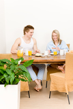 Fotografie Breakfast happy couple enjoy romantic morning
