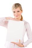 Businesswoman hold empty banner in front