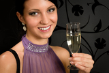 Fotografia Woman party dress drink champagne glass