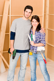 Photo Home improvement young couple with repair tools