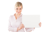 Happy businesswoman hold aside empty white banner