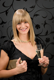 Glamorous blond woman party dress drink champagne