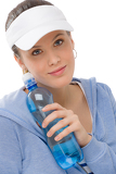 Sport - young woman fitness outfit water bottle