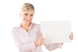 Happy businesswoman hold empty banner thumbs up