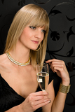 Fotografia Glamorous blond woman party dress drink champagne