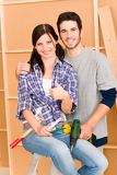 Home improvement young couple DIY repair tools
