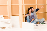 Photo Home improvement young couple relax building wall