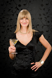 Fotografie Woman party dress hold cocktail glass