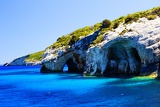 Photo Blue caves in the Ionian Sea on the island of Zakynthos in Greece.