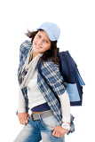 Fotografie Smiling female teenager wear cool outfit schoolbag