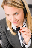 Fotografie Customer service woman call operator phone headset