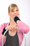 Tennis player woman young smiling leaning racket