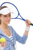 Tennis player - young woman holding racket