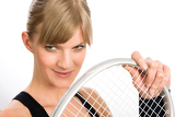 Photo Tennis player woman young smiling hold racket