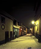 Photo Golden lane in winter night - Prague castle