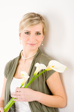 Romantic woman hold calla lily flower