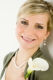 Portrait romantic woman hold calla lily flower