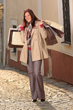 Fotografie Autumn outfit shopping woman elegant with bags