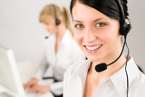 Fotografie Customer service woman call center phone headset
