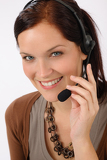 Fotografia Friendly help desk woman smiling