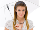 Fashion - young woman umbrella designer clothes