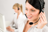 Fotografia Customer service woman call center phone headset