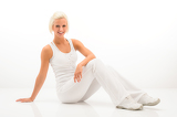 White fitness woman relax at Pilates exercise