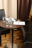 Business desk with report and refreshment meeting
