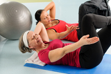 Fotografie Fitness center senior woman exercise gym workout