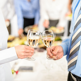 Business toast glasses company partners at meeting
