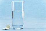 Soluble tablet throw in water glass