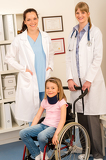 Girl on wheelchair get doctor assistance