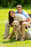 Fotografie Couple sitting with golden retriever in park