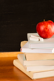 Fotografie Traditional academic study school books and apple