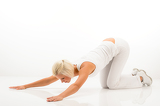 Fotografie white fitness žena stretch telo na pilates