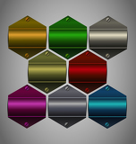 Vector metallic sticker collection