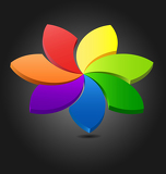 3D flower color wheel
