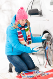 Fotografie Woman putting chains on car winter tires
