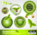 Green ecofriendly design elements