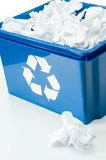 Fotografie Blue recycling box with paper waste bin
