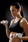 Fotografia Sport fitness woman young weights exercise
