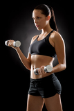 Photo Black fitness woman young sport weights exercise